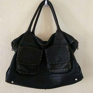 Tylie Malibu Double Handle Black Leather Bag